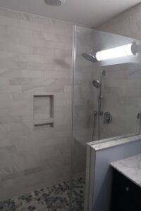 New Tile and Fixtures in Shower